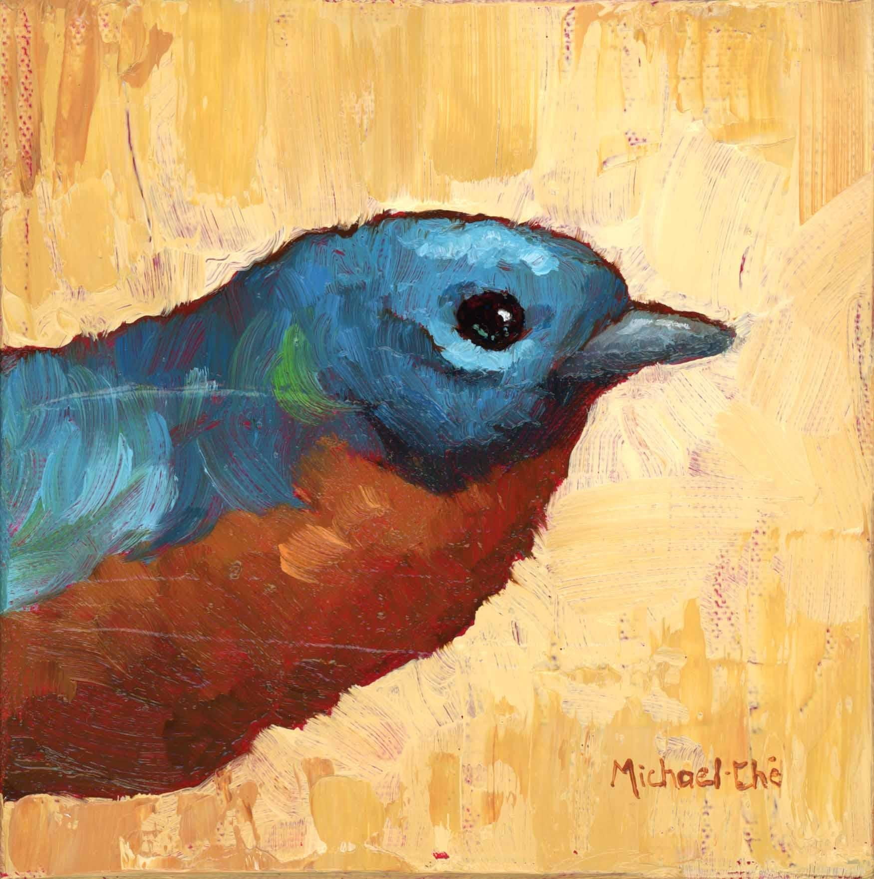 """""""The Brass"""" Small Oil Painting of a Blue and Orange Bird"""