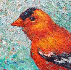 """""""The Gold Got It"""" Impasto oil painting of a yellow bird on green background"""