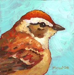 """""""The Golds Will Get It Done"""" Impasto oil painting of brown and orange bird"""