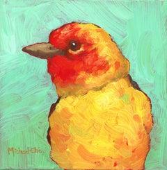 """""""The Summer Glow"""" Impasto oil painting of a yellow and red bird on green"""