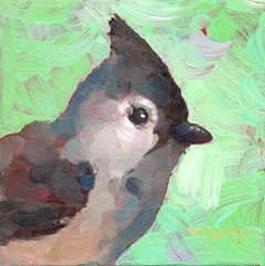 """""""Too Soft to Fluff"""" Impasto oil painting of a grey bird on green background"""