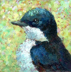 """""""Sweet Swallow"""" Impasto oil painting of a blue bird on yellow/green background"""