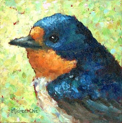 """""""Wise and Wonderful"""" Impasto oil painting of a blue bird on yellow/green"""