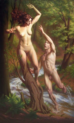 Apollo and Daphne - Original Oil Painting of Mythological Lovers from Greek Myth