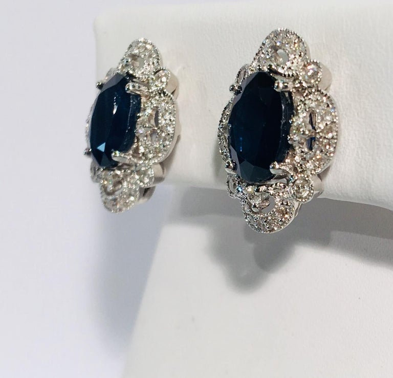 Michael Christoff 5.33 Carat Sapphire and Diamond White Gold Filigree Earrings For Sale 4
