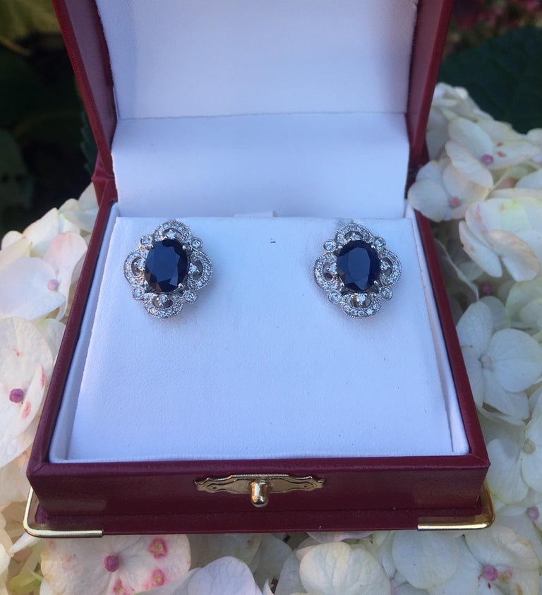 Contemporary Michael Christoff 5.33 Carat Sapphire and Diamond White Gold Filigree Earrings For Sale