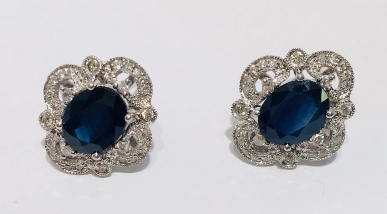 Oval Cut Michael Christoff 5.33 Carat Sapphire and Diamond White Gold Filigree Earrings For Sale