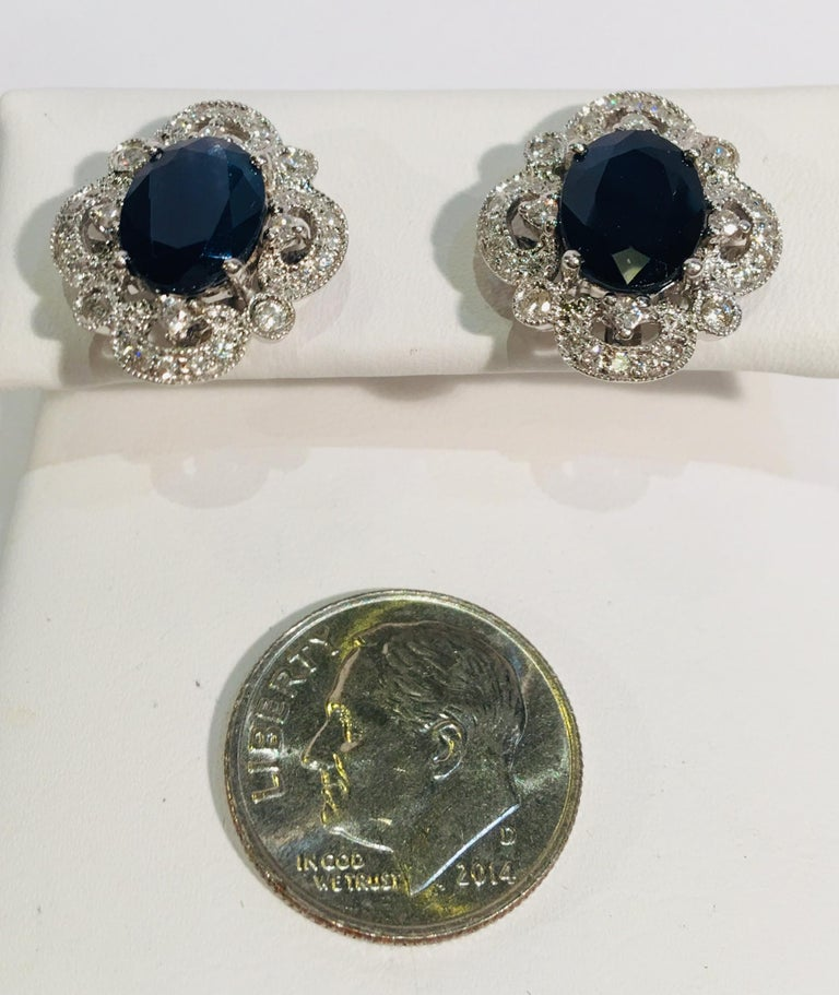 Michael Christoff 5.33 Carat Sapphire and Diamond White Gold Filigree Earrings In Excellent Condition For Sale In Tustin, CA