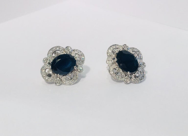 Women's Michael Christoff 5.33 Carat Sapphire and Diamond White Gold Filigree Earrings For Sale