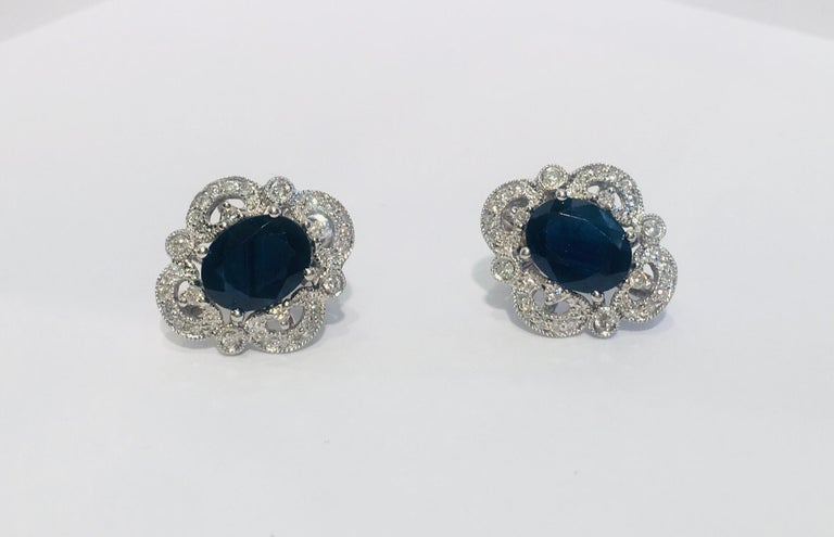 Michael Christoff 5.33 Carat Sapphire and Diamond White Gold Filigree Earrings For Sale 1