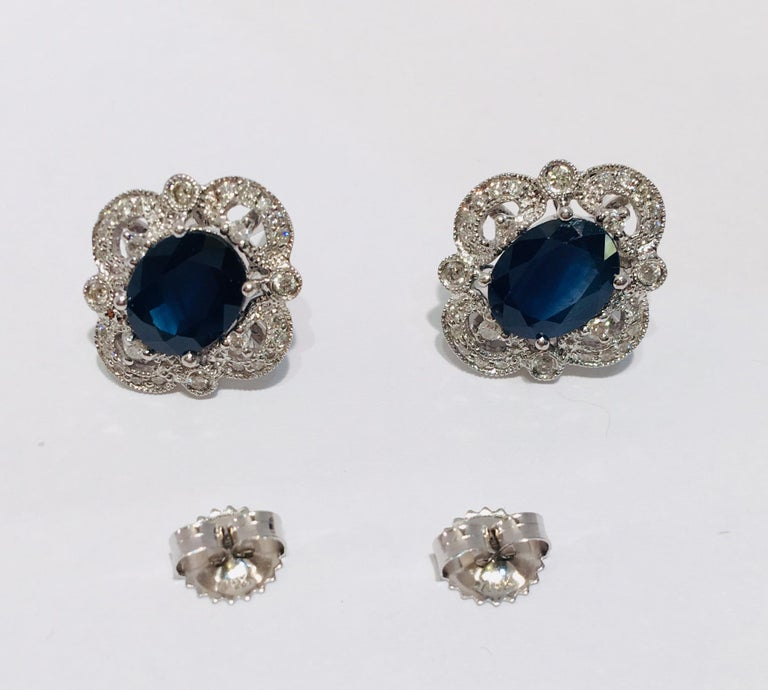 Michael Christoff 5.33 Carat Sapphire and Diamond White Gold Filigree Earrings For Sale 2
