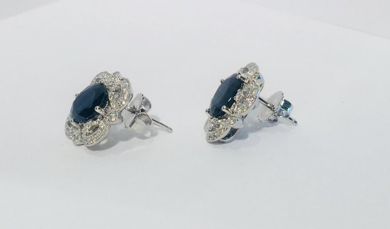 Michael Christoff 5.33 Carat Sapphire and Diamond White Gold Filigree Earrings For Sale 3