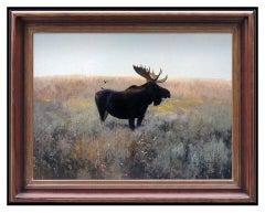 Michael B Coleman Original Oil Painting on Board Moose Landscape Signed Artwork