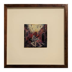 """""""Pontiff Piping"""" Abstract Contemporary Black and Red Toned Painting"""