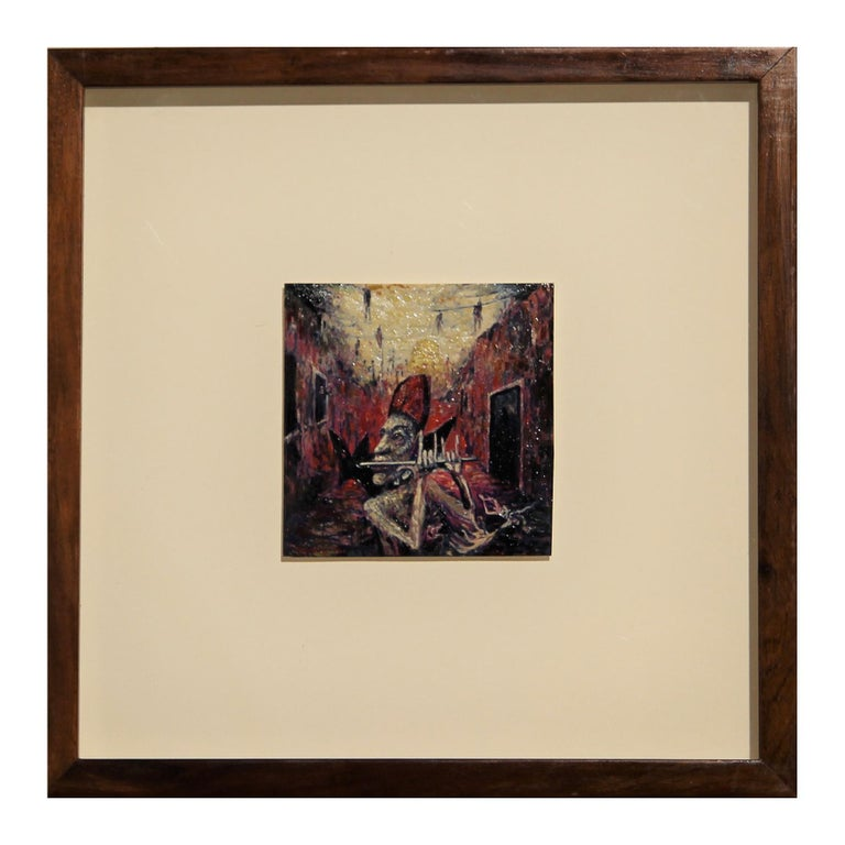 """Michael Collins Figurative Painting - """"Pontiff Piping"""" Abstract Contemporary Black and Red Toned Painting"""
