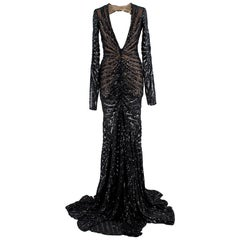 Michael Costello Sequin Embellished Mesh Open Back Gown - Size Estimated S