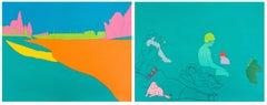 Deconstructing Seurat (turquoise green) -- Screen Print by Michael Craig-Martin