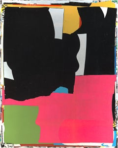 Needed That, mixed media, paper on canvas, pink, green, black, white