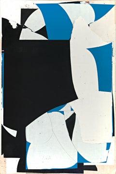 Unfolding, mixed media, paper on panel, black, white, blue, beige