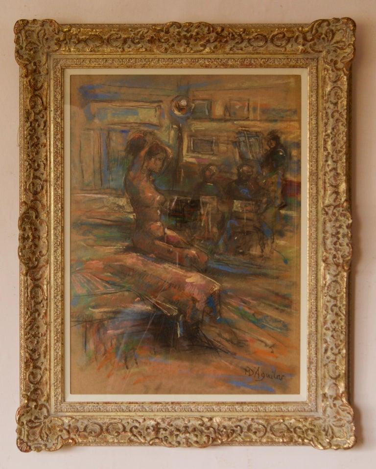 Dans L'Atelier Mardi - Mid 20th Century Nude Still Life Oil by Michael D'Aguilar For Sale 1