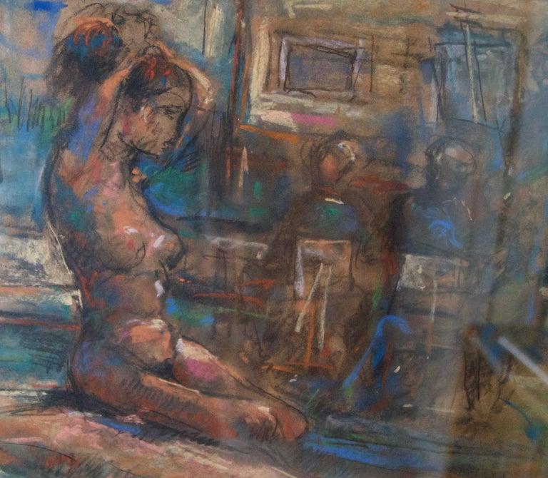 Dans L'Atelier Mardi - Mid 20th Century Nude Still Life Oil by Michael D'Aguilar For Sale 2