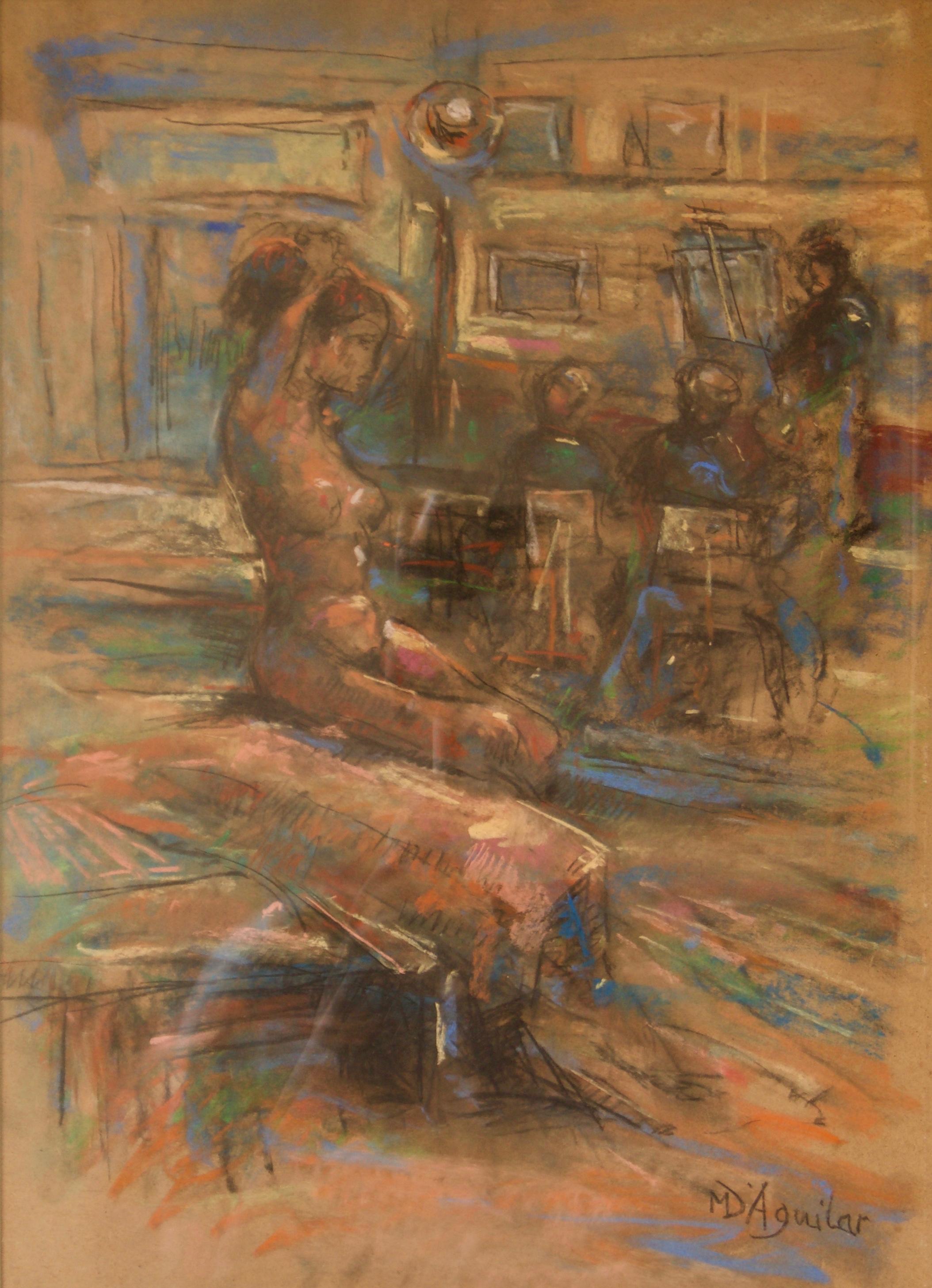 Dans L'Atelier Mardi - Mid 20th Century Nude Still Life Oil by Michael D'Aguilar