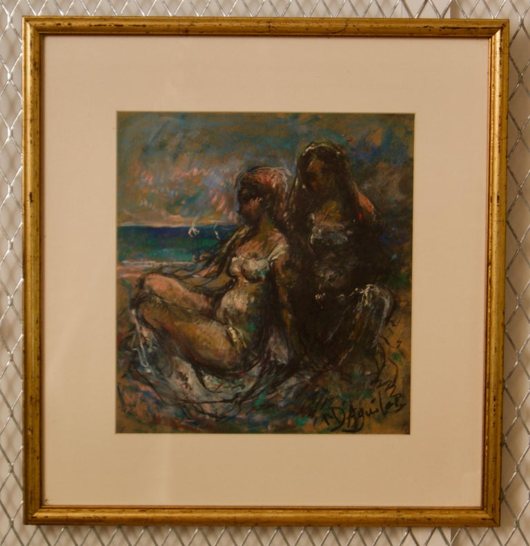 Girls by the Sea - Mid 20th Century Nude Still Life Oil by Michael D'Aguilar For Sale 1