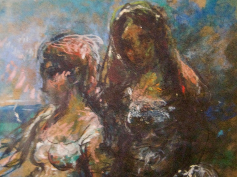 Girls by the Sea - Mid 20th Century Nude Still Life Oil by Michael D'Aguilar For Sale 2