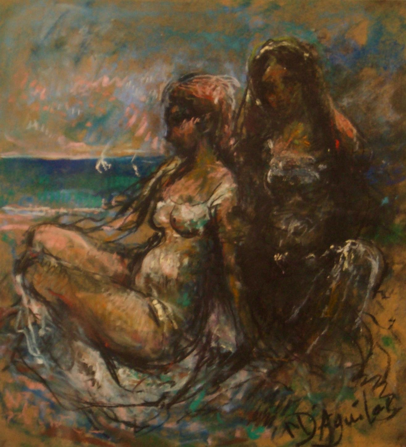 Girls by the Sea - Mid 20th Century Nude Still Life Oil by Michael D'Aguilar