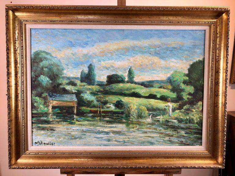 La Calme Au Bord Du Lac - Painting by Michael D'Aguilar