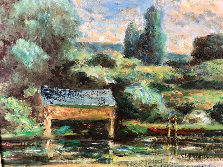 La Calme Au Bord Du Lac - Impressionist Painting by Michael D'Aguilar