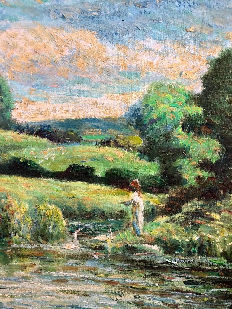 La Calme Au Bord Du Lac - Gray Landscape Painting by Michael D'Aguilar
