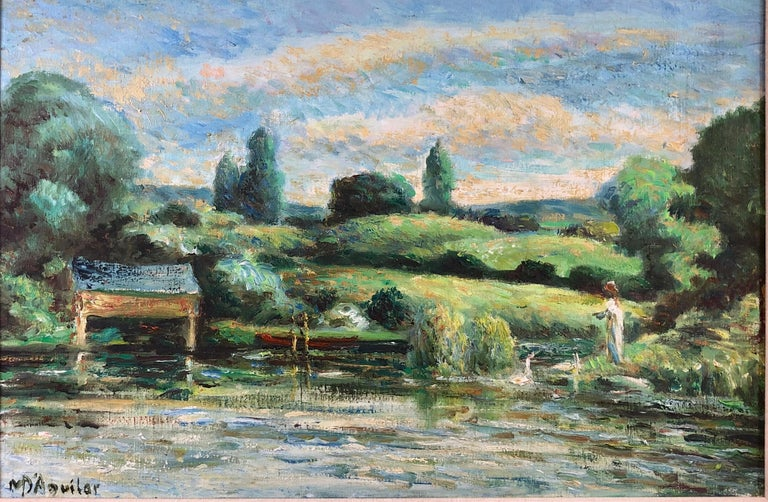 Michael D'Aguilar Landscape Painting - La Calme Au Bord Du Lac