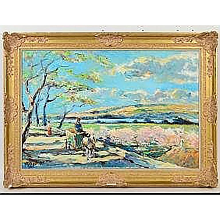 """Le Chemin a Beauville en Printemps"".  Signed l/l. Verso signed and titled by the artist on canvas. Oil on Canvas. Measuring 24"" by 36"".  Rococo style frame."