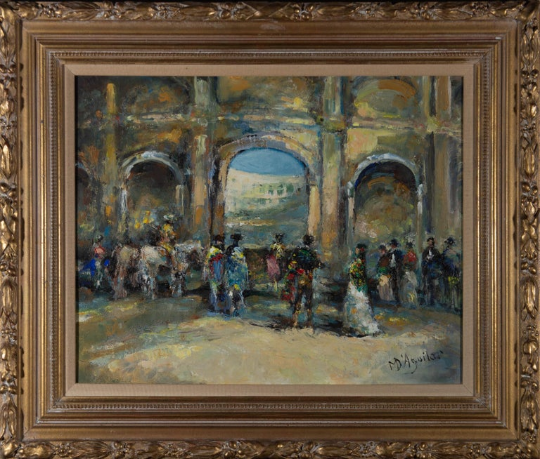 A fine and accomplished oil painting by the artist Michael D'Aguilar, depicting a scene from the Opera 'Carmen'. The thoughtful brushstrokes and the vibrant colour palette highlight the artist's proficiency in the subject and medium. Signed to the