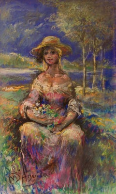 Portrait of a Girl in Nature - Mid 20th Century Oil by Michael D'Aguilar