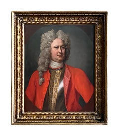 18th CENTURY ENGLISH MILITARY PORTRAIT OF AN OFFICER IN A RED COAT