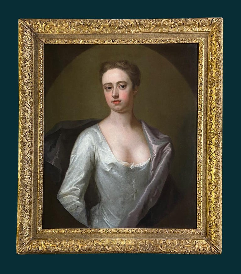 EARLY 18TH CENTURY ENGLISH PORTRAIT OF A LADY IN A WHITE SILK DRESS. For Sale 7