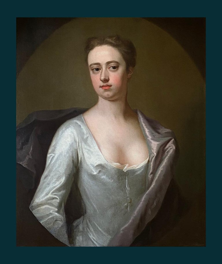 EARLY 18TH CENTURY ENGLISH PORTRAIT OF A LADY IN A WHITE SILK DRESS. - Old Masters Painting by Michael Dahl