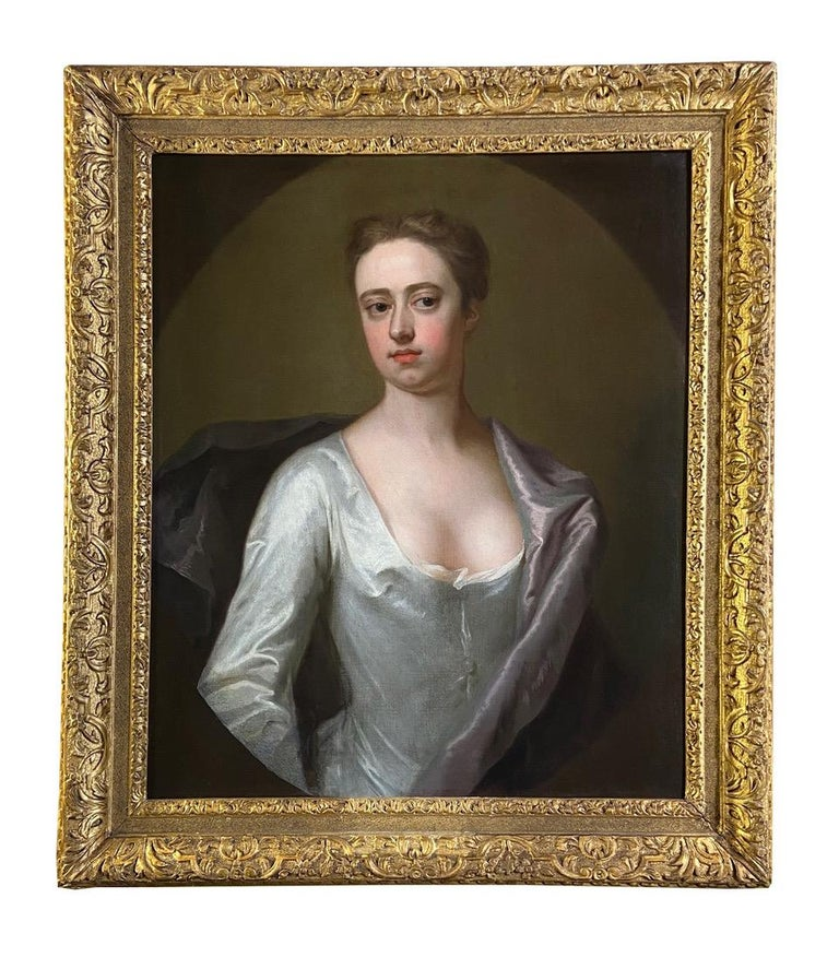 Michael Dahl Interior Painting - EARLY 18TH CENTURY ENGLISH PORTRAIT OF A LADY IN A WHITE SILK DRESS.