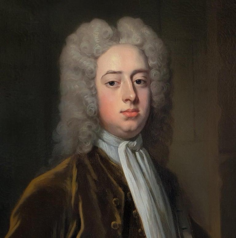 Portrait of a Gentleman Holding Gloves c.1723, Antique Oil Painting MICHAEL DAHL For Sale 1