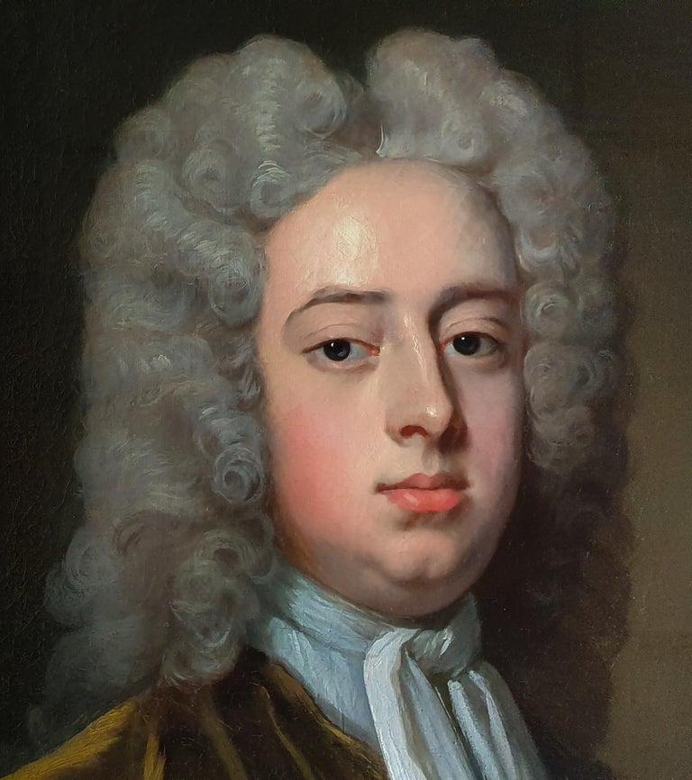 Portrait of a Gentleman Holding Gloves c.1723, Antique Oil Painting MICHAEL DAHL For Sale 2