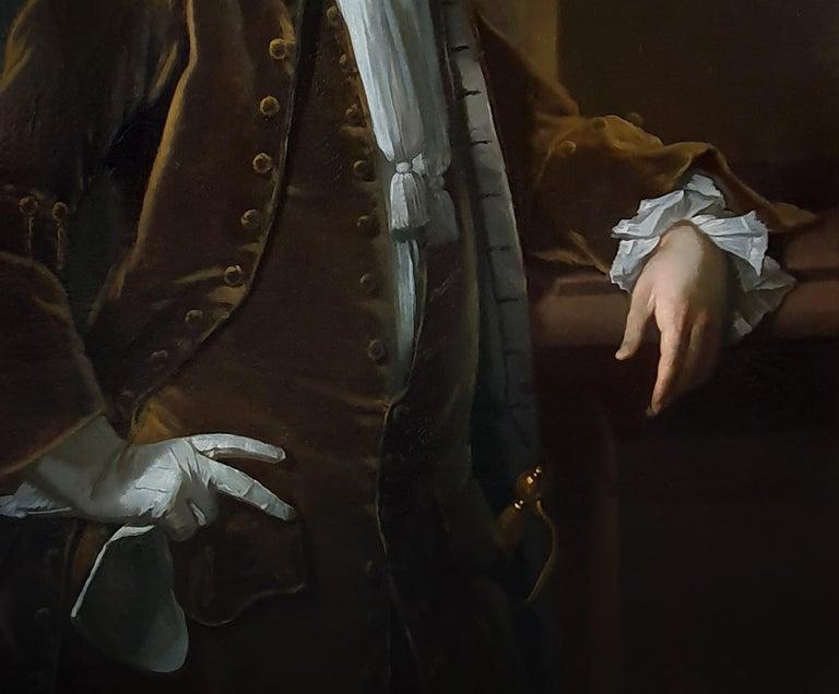 Portrait of a Gentleman Holding Gloves c.1723, Antique Oil Painting MICHAEL DAHL For Sale 3