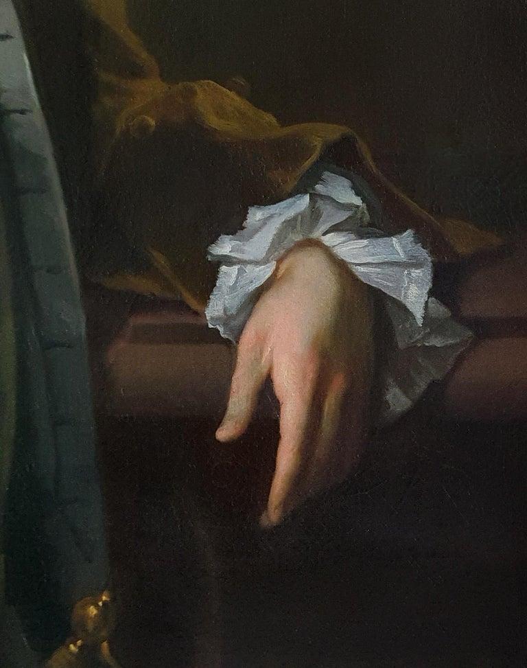 Portrait of a Gentleman Holding Gloves c.1723, Antique Oil Painting MICHAEL DAHL For Sale 4