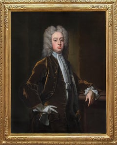 Portrait of a Gentleman Holding Gloves c.1723, Antique Oil Painting MICHAEL DAHL