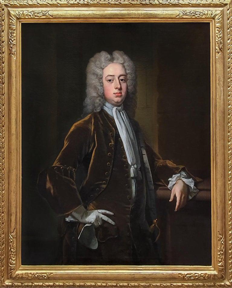 Michael Dahl Portrait Painting - Portrait of a Gentleman Holding Gloves c.1723, Antique Oil Painting MICHAEL DAHL