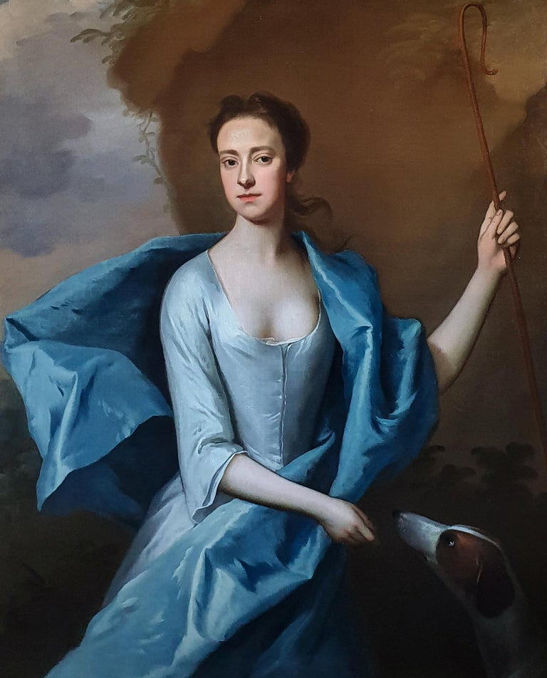 Portrait of Miss Lyddell as a Shepherdess c.1710, Antique Oil Painting - Black Portrait Painting by Michael Dahl