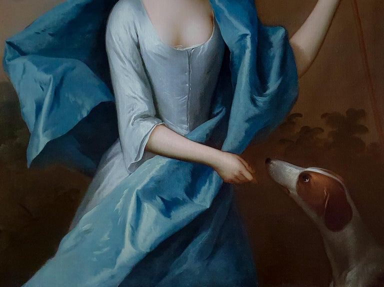 Portrait of Miss Lyddell as a Shepherdess c.1710, Antique Oil Painting 1