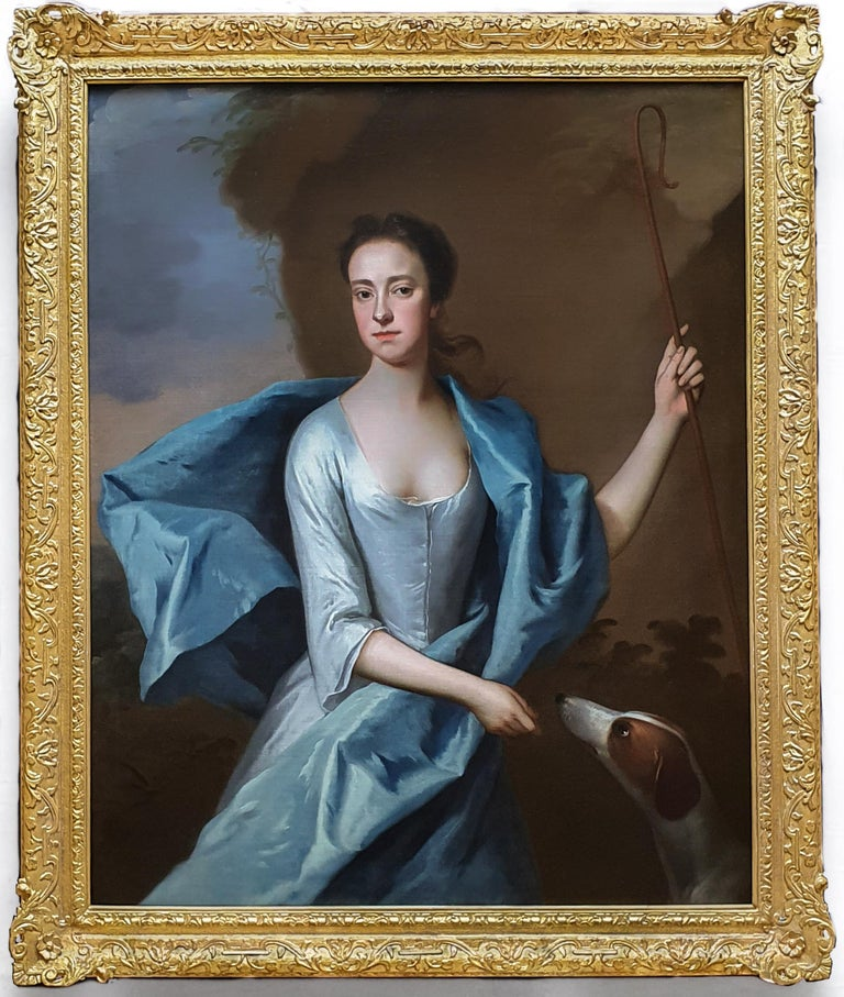Michael Dahl Portrait Painting - Portrait of Miss Lyddell as a Shepherdess c.1710, Antique Oil Painting