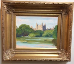 The Lake and the Beresford, New York City, original impressionist landscape
